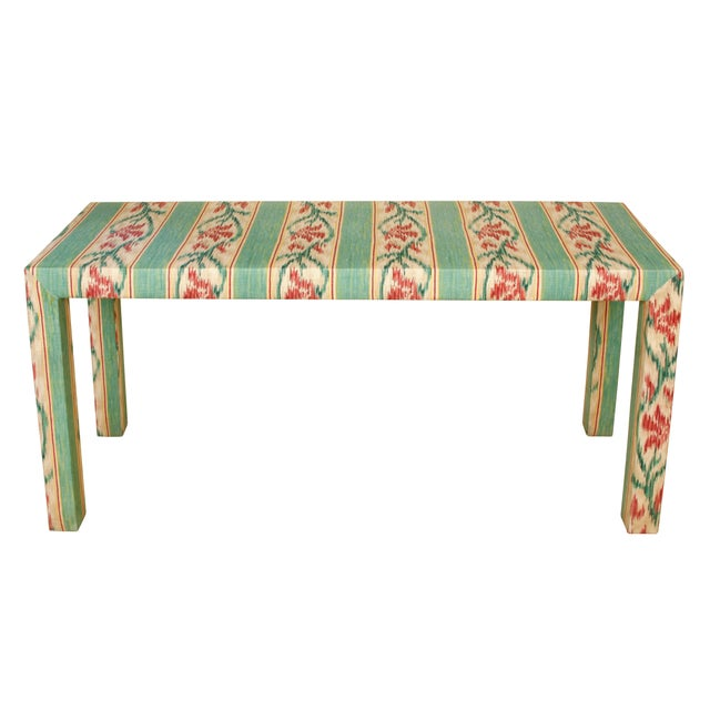 Custom Parsons Style Upholstered Console For Sale - Image 4 of 5