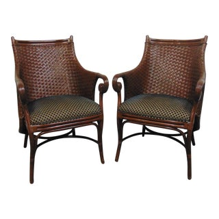 Modern Design Wicker & Rattan Lounge Chairs - a Pair For Sale