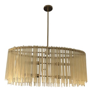 Arteriors Home Oval Drum Chandelier, Antique Brass and Glass For Sale