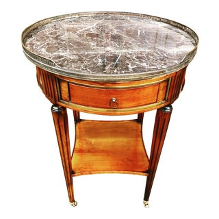 Louis XVI Style Marble Top Bouillotte Side Table on Casters For Sale