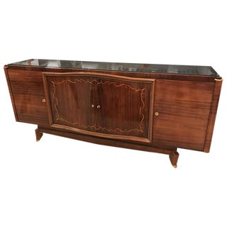 French Art Deco Palisander Buffet With Black Glass Top For Sale