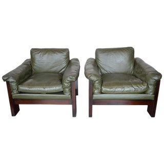 Vintage Green Milo Baughman for Thayer Coggin Leather Chairs- a Pair For Sale