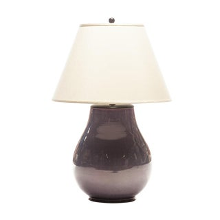 Lawrence & Scott Lillian Table Lamp in Oyster Gray With Rosewood Cap For Sale