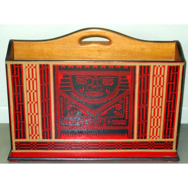 Rare vintage Mexican Olinala lacquerware magazine stand. Sturdy wood, two separate spaces for magazines, decorated all...