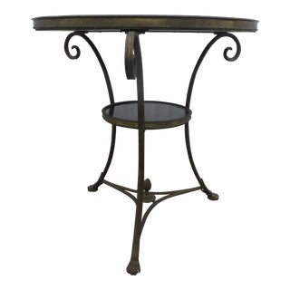 Global Views Black Granite and Brass Gueridon Table With Rams Feet For Sale