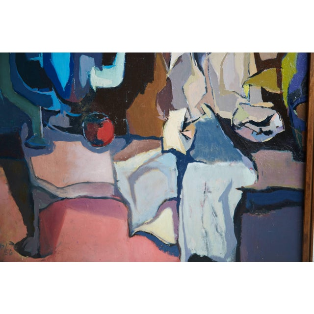Abstract 1956 Mid-Century Modern Abstract Oil Painting Signed Trump For Sale - Image 3 of 7