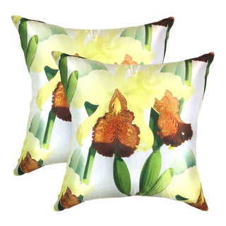 Orchid Dowiana Pillows - a Pair For Sale