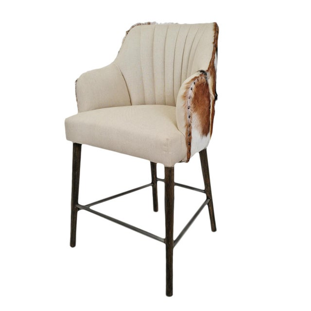 Austin Goat & Linen Counter Stool For Sale - Image 9 of 9