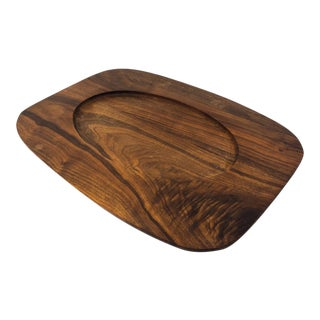 Mid-Century Solid Walnut Serving Tray For Sale