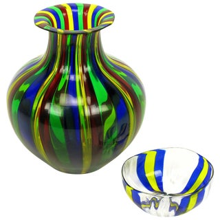 Italian Handblown Art Glass Vase With Bowl by Oggetti For Sale