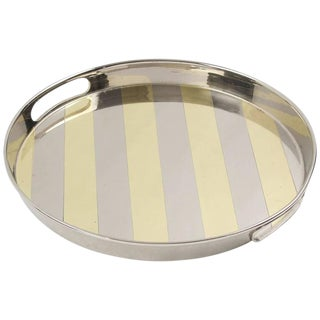 Mid-Century Modern Round Chrome and Brass Barware Bar Serving Tray For Sale