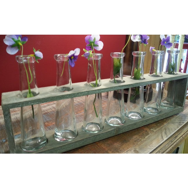 Wood Tray With 7 Glass Bud Vases - Flower Vases For Sale - Image 9 of 9