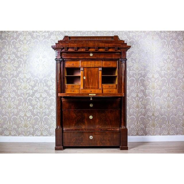 Wood Biedermeier Secretary Desk Veneered with Mahogany, circa 1840 For Sale - Image 7 of 13