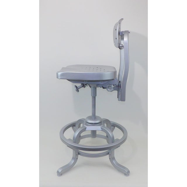 Good Form Mid-Century Modern Industrial Aluminum Drafting Swivel Stool Chair - Image 10 of 11