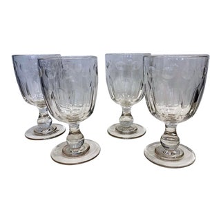 19th Crystal Century Wine Goblets - Set of 4 For Sale