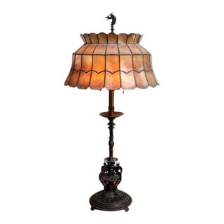 1920s Figurative Oscar Bach Style Bronze Table Lamp For Sale