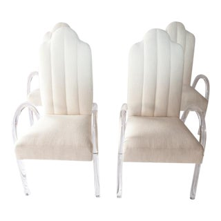 1970's Arched Lucite Dining Arm Chairs - Set of 4 For Sale
