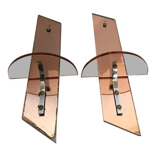Mid Century Mirrored Brackets - A Pair