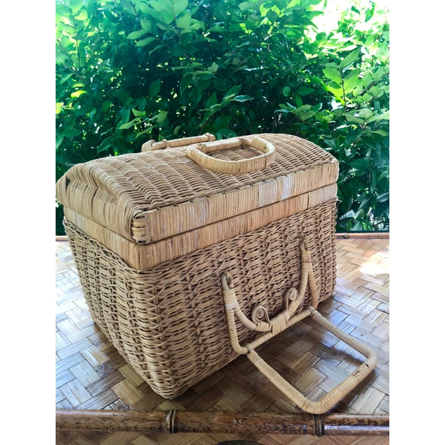 Tan 20th Century Boho Chic Natural Woven Wicker Picnic Basket For Sale - Image 8 of 11