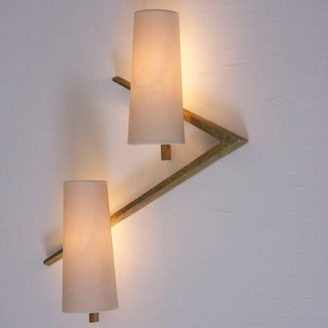 1960s Pair of Bronze Sconces or Wall Lamps from Maison Arlus For Sale - Image 5 of 5
