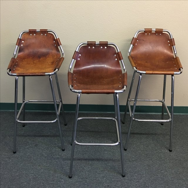 Charlotte Perriand Leather Barstool - Set of Three - Image 3 of 10
