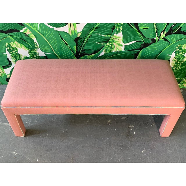 Hollywood Regency Pink Upholstered Bench Seat Circa 1980s For Sale - Image 4 of 8