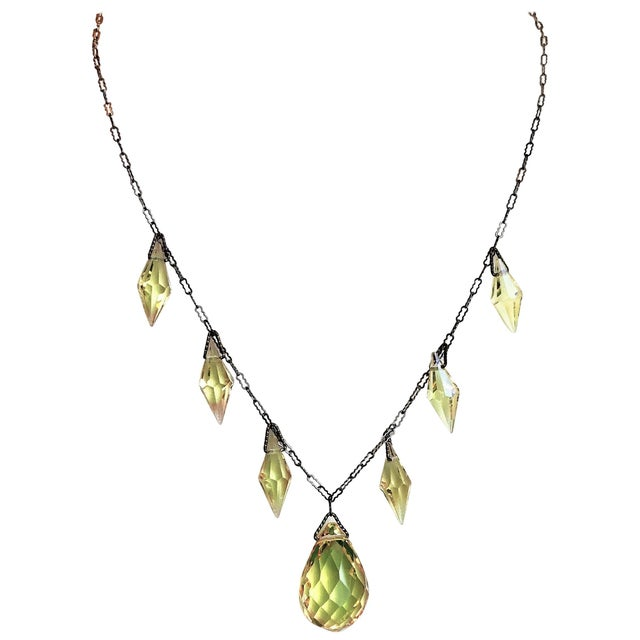 Transparent Circa 1920s Czechoslovakian Yellow Faceted Drop Necklace For Sale - Image 8 of 8