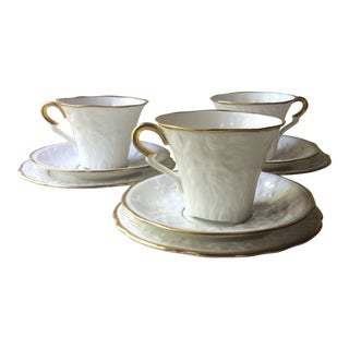 Antique Staffordshire China Cups and Saucers - 9 Piece Set For Sale