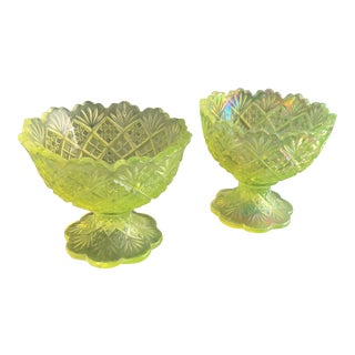 Vaseline Glass Ice Cream Dishes - A Pair For Sale