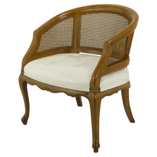 French Regency Walnut & White Leather Cane Back Chair For Sale