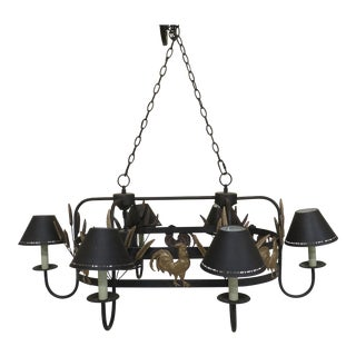 Country Double Kitchen Chandelier Iron & Brass with Chickens For Sale