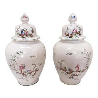 White Chinoiserie Urns - A Pair For Sale