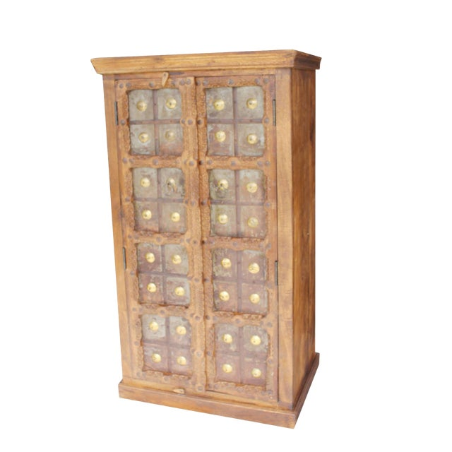 Antique Indian Solid Hand Carved Wood and Iron Clad Armoire For Sale