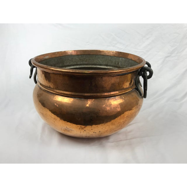 Vintage handmade copper kettle or cauldron with wrought iron handles. Possibly Ottoman or Turkish, tin lined. 18 1/2...