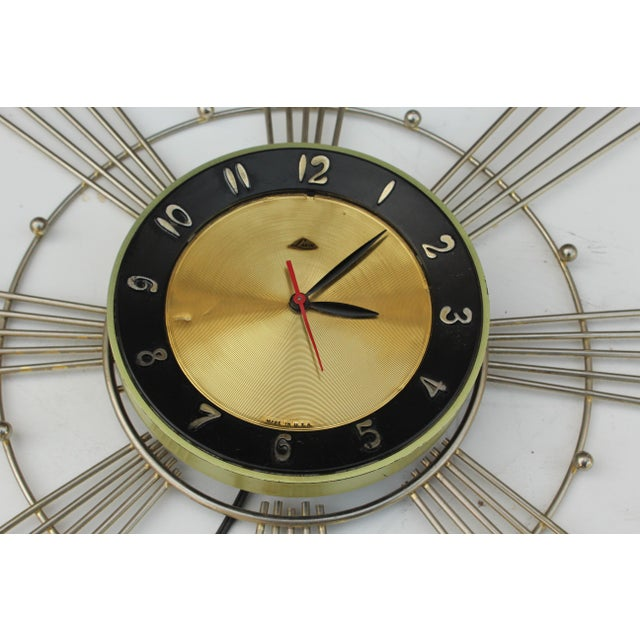 Brass Lux Starburst Wall Clock For Sale - Image 7 of 7