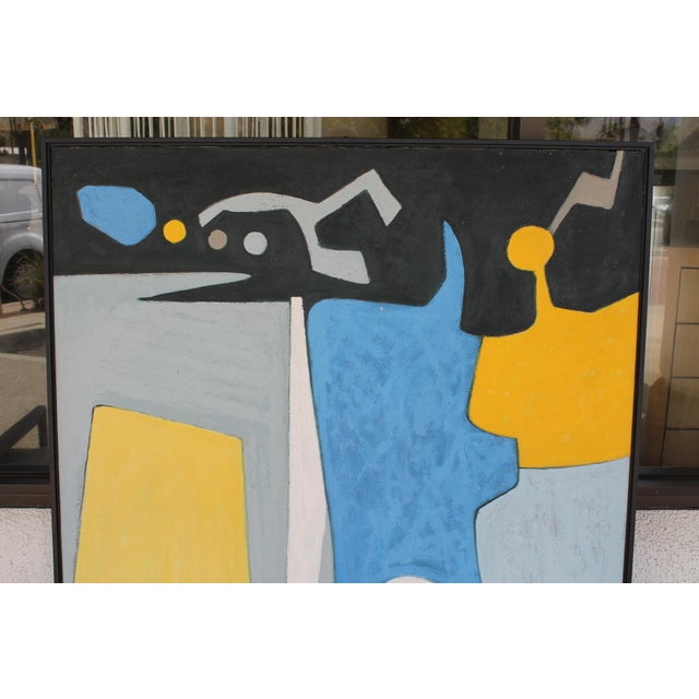 """Abstract painting signed Brittenham and dated 1972. Painting measures 40.5"""" wide, 2.25"""" deep and 51"""" high. We had this..."""