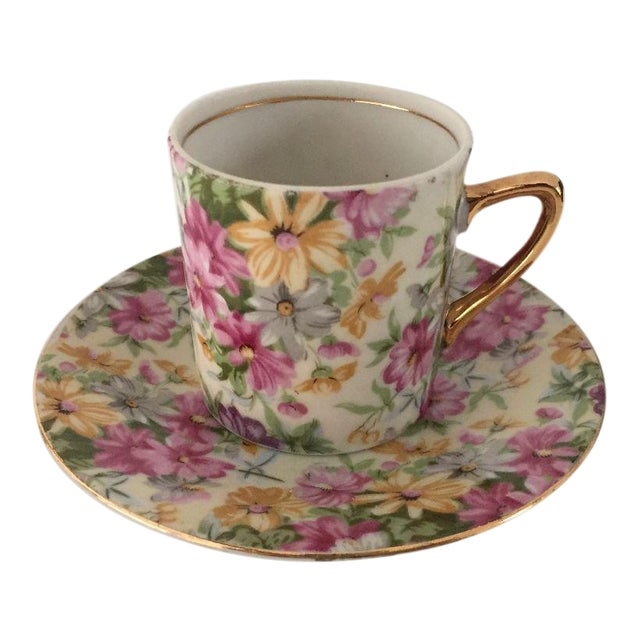 Vintage Cottage Style Demitasse Cup and Saucer - 2 Pc. For Sale