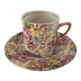 Vintage Cottage Style Demitasse Cup and Saucer - 2 Piece For Sale