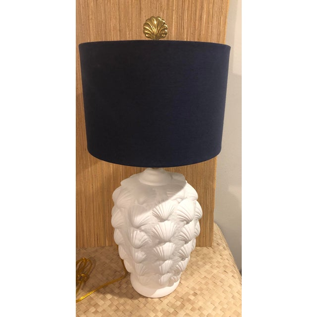 1960s Vintage Clam Shell Plaster Lamp For Sale - Image 5 of 6