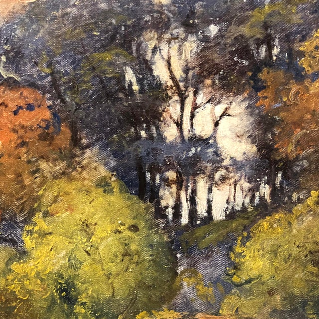 Rustic Autumn Forest Oil on Canvas Early 20th Century For Sale - Image 3 of 11