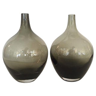 Handblown Smoked Glass Bud Vases - A Pair For Sale