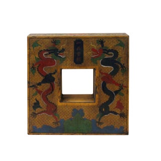 Chinese Distressed Yellow Dragon Graphic Square Shape Box For Sale