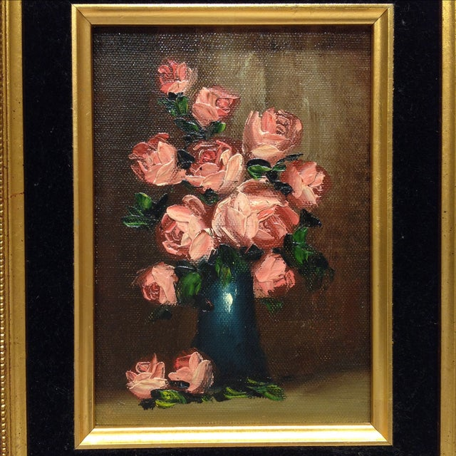 """""""Pink Roses"""" Vintage Still Life Oil Painting - Image 3 of 7"""