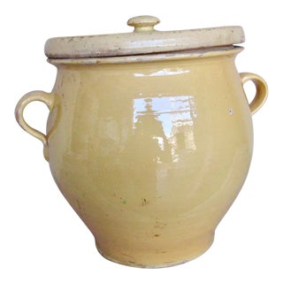 1800s Rustic French Country Grease Yellow Pot or Country Pottery For Sale
