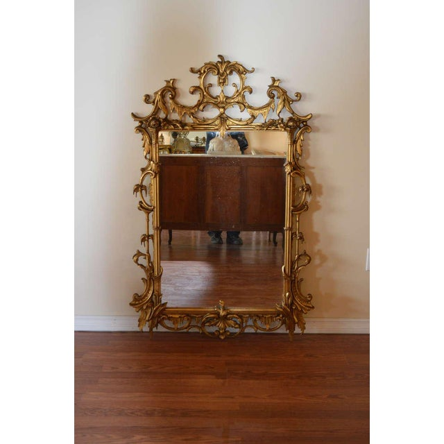 Rococo style hand carved and gilded mirror. Very decorative and perfect size for fireplace mantel.