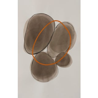 """""""Orange Circle"""" Contemporary Abstract Mixed-Media Painting on Paper by Sabrina Bachelier For Sale"""