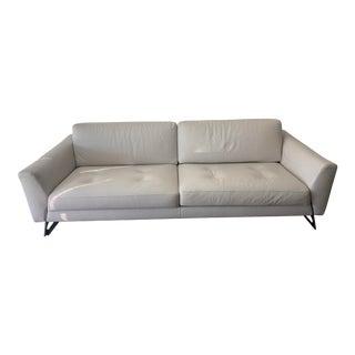 21st Century Roche Bobois White 3-Seat Leather Sofa For Sale