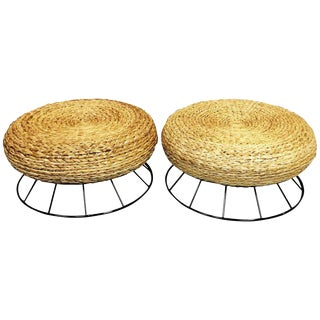 Restored Italian Mid-Century Woven Rope and Metal Ottomans - a Pair
