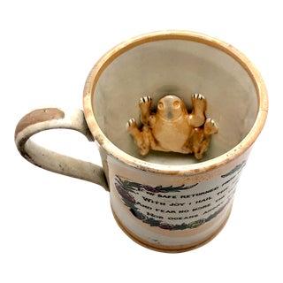 1800s Sunderland Lustreware Mug With Whaling Ship, Poem, and Frog Inside For Sale
