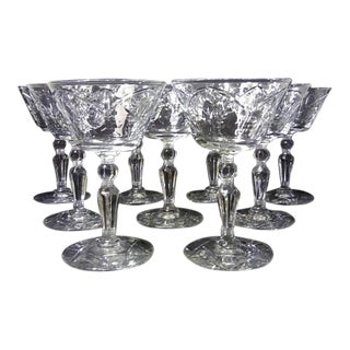 Art Deco Etched Wine Coupe Glasses Stemware - Set of 9